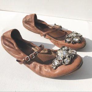 Miu Miu Shoes - MIU MIU jewel ballet Flat Shoes 37 7  tan leather